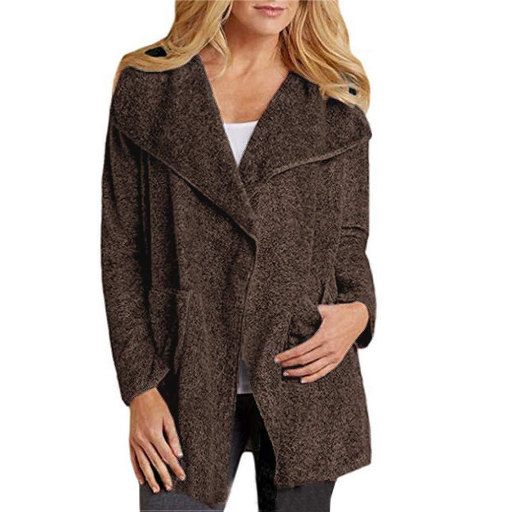 Coats For Women, Clearance!! Farjing Women Winter Sale Fleece Open Front Overcoat Woolen Sweater Coat Jacket Cardigan