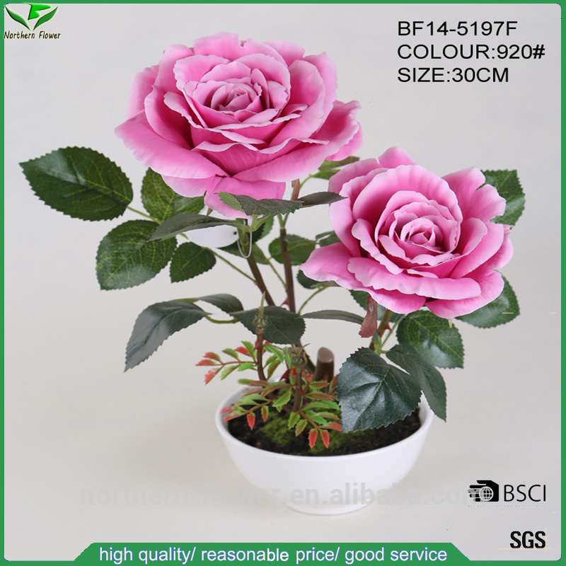 fashionable pink artificial rose flowers with ceramic pot for wedding decoration