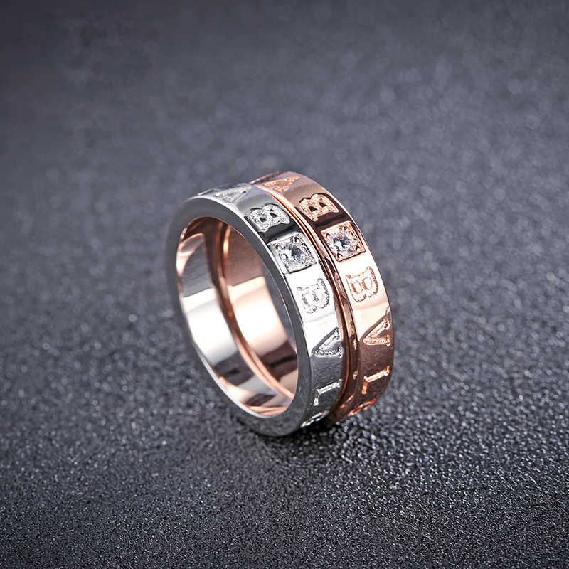 H032 Free sample latest fashion model custom letter design jewelry wedding engagement ring for ladies
