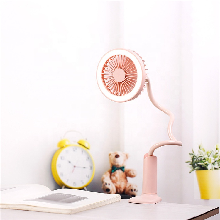 2019 New Rechargeable USB Table Clip Mini <strong>Fan</strong> Portable with LED