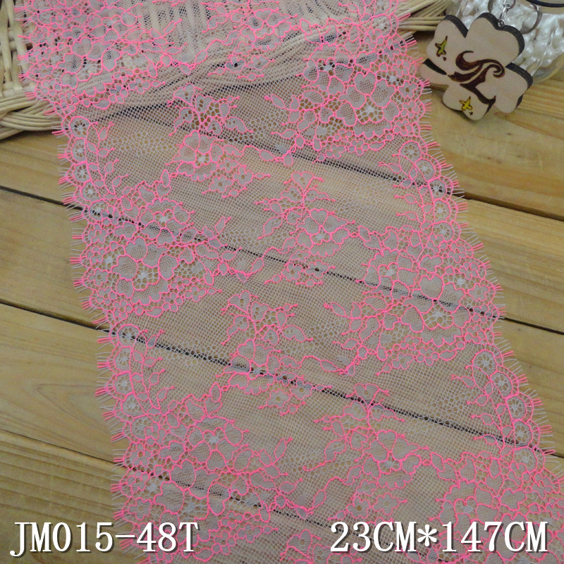 Chantilly lace 23cm gray net pink threads corded eyelash lace