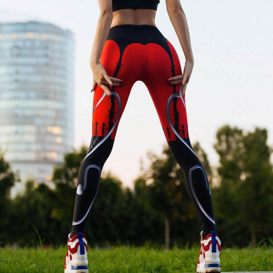 Wholesale New arrival red heart peach digital printing sports slim leggings High Quality Popular women yoga pants J0059