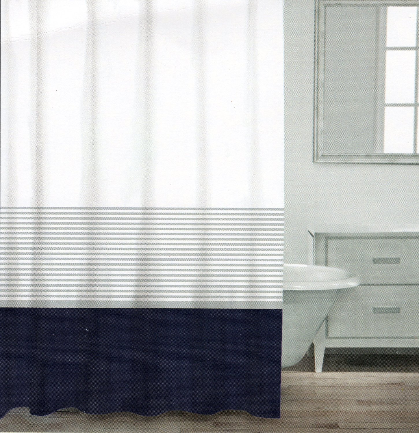 Get Quotations Caro Home Fabric Shower Curtain Wide Navy Blue White And Silver Stripe