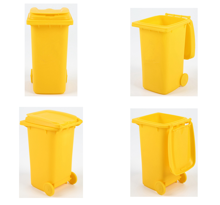 Customized Colorful Mini Plastic Trash Can Pen Holder