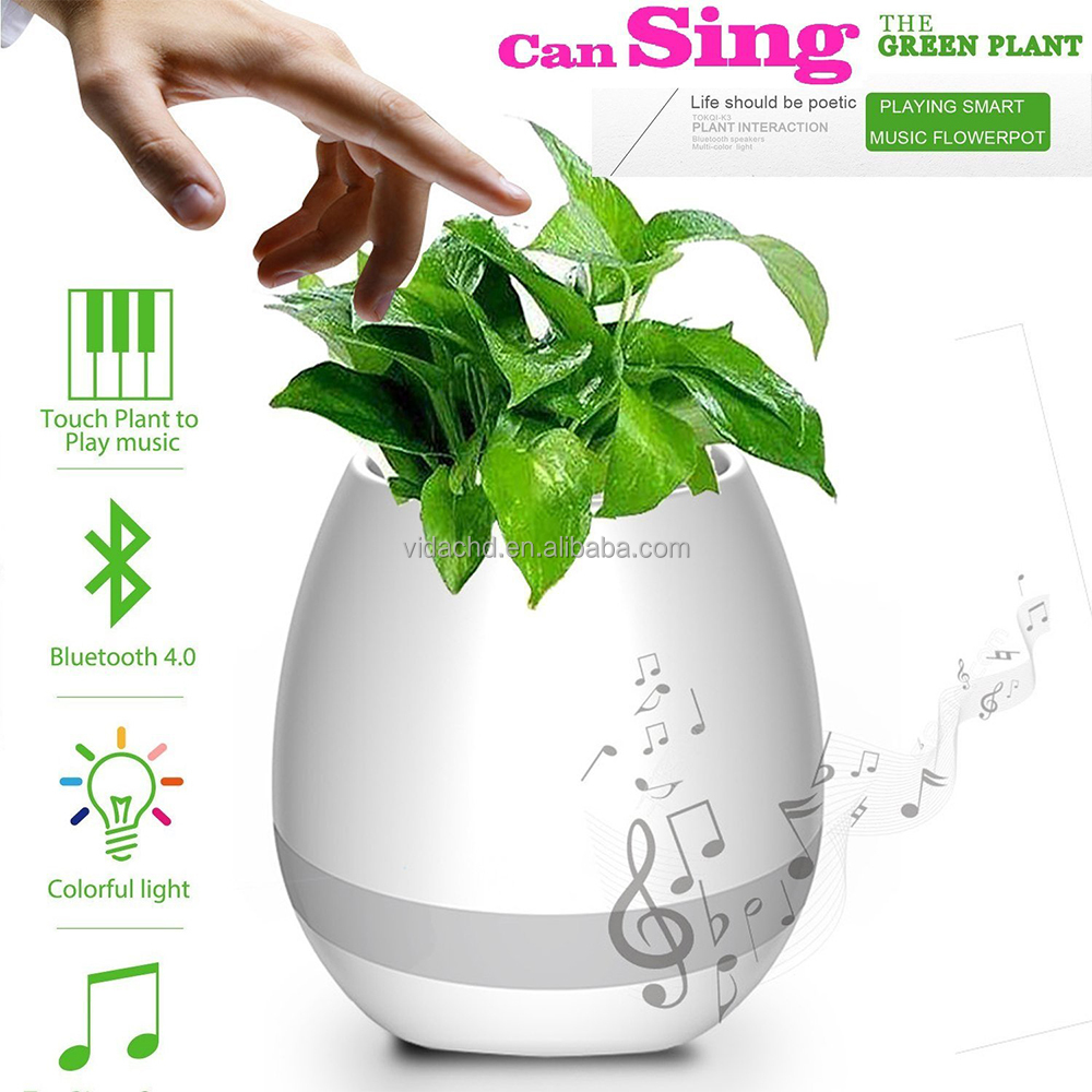 Plant Pots Smart Bluetooth Speaker Touch Piano Music Playing Rechargeable Wireless Flower Pots with Night Light for Office Home