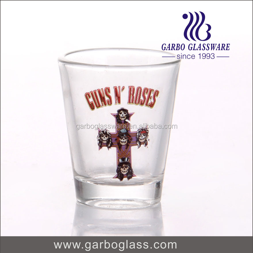 50ml high quality pressed machine made shot glass with printing and decals logo for drinking spirit for wishkey for hotel using