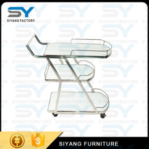 Solid Stainless steel 3 layers Rolling Bar Cart food service hand trolley dining cart with handle CC002