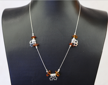 Triple Point Double Silver Flower Amber Beauty Necklace