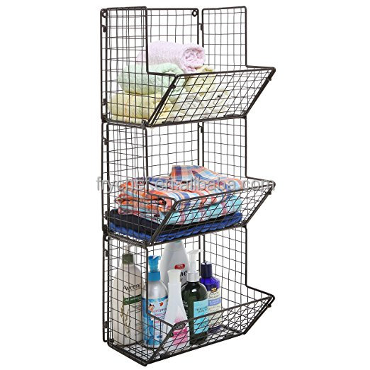 Rustic Metal Wire 3 Tier Wall Mounted Kitchen Fruit Produce Bin Rack / Bathroom Towel Baskets/File Organizer Rack