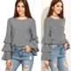 Women's Round Neck Long Sleeve Ruffle Slim Top Blouse 95% Cotton 5% Spandex Striped Layered Bell Sleeve Ruffle Blouse