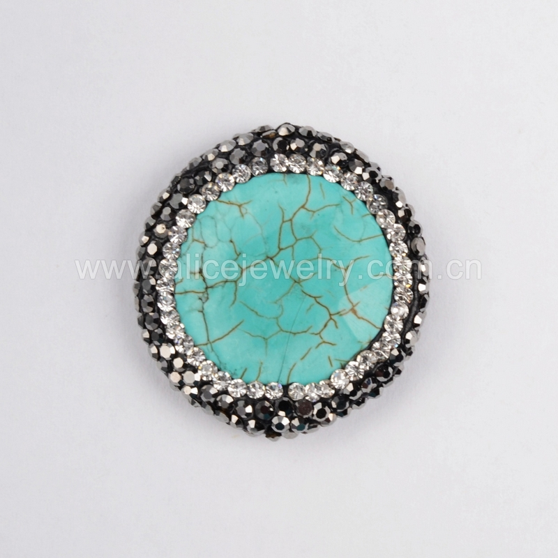 Special Style Silver Metal Turquoise Beads With Cz,Zircon Pave ...