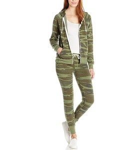 Wholesale women fitness sports camo track suits ladies jogging suits