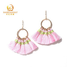 Women Fashion Long Tassel Dangle Earrings Silk Thread Earrings