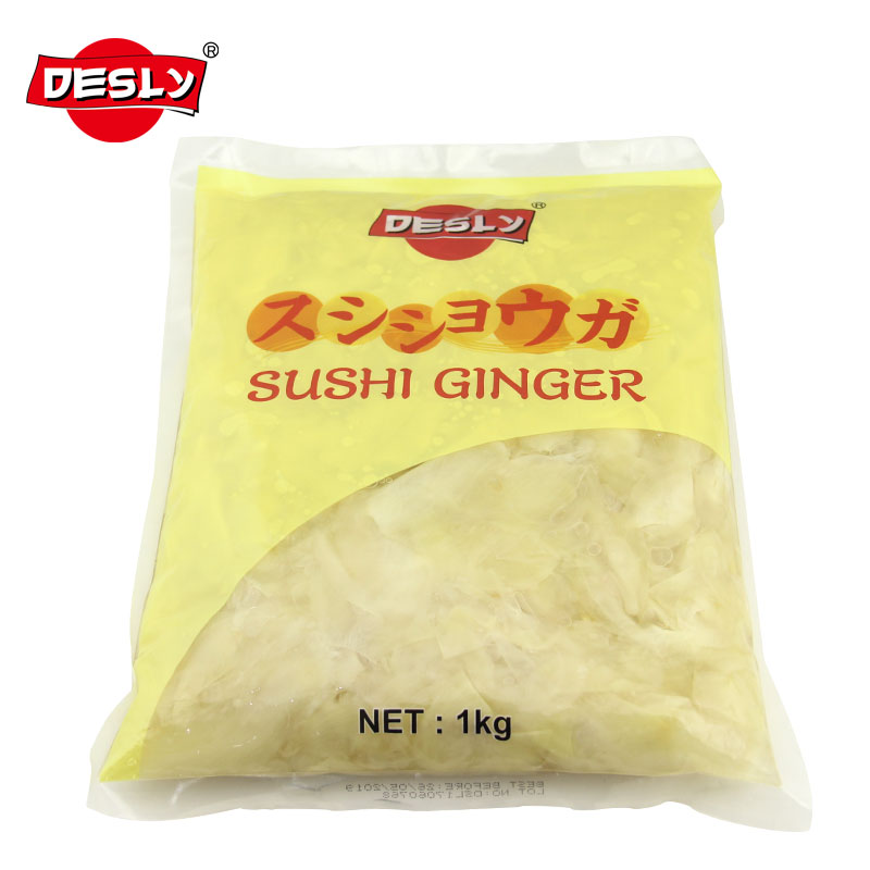 1 kg white/pink Desly Brand Sushi Ginger Bulk Wholesale For Ingredients Foods OEM Factory