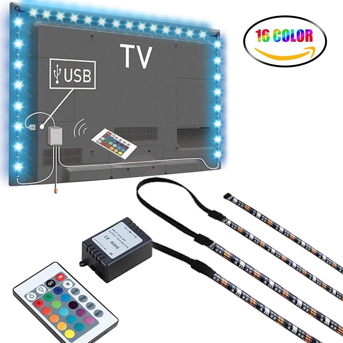 LED TV Backlight, 2M USB Bias Lighting With 16 Colors And 4 Dynamic Mode For 40 To 60 Inch HDTV,PC Monitor,Led Light Strip.(4Pcs X 50Cm Led Strips)