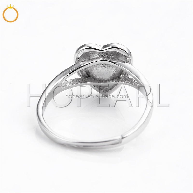 SSR109 Heart Design Pearl Ring Mount 925 Sterling Silver Band Rings Blank for DIY Making