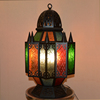 Custom printed antique retro iron art glass mosque Islamic lamp Mosaic Candle holder Ramadan Metal Lantern