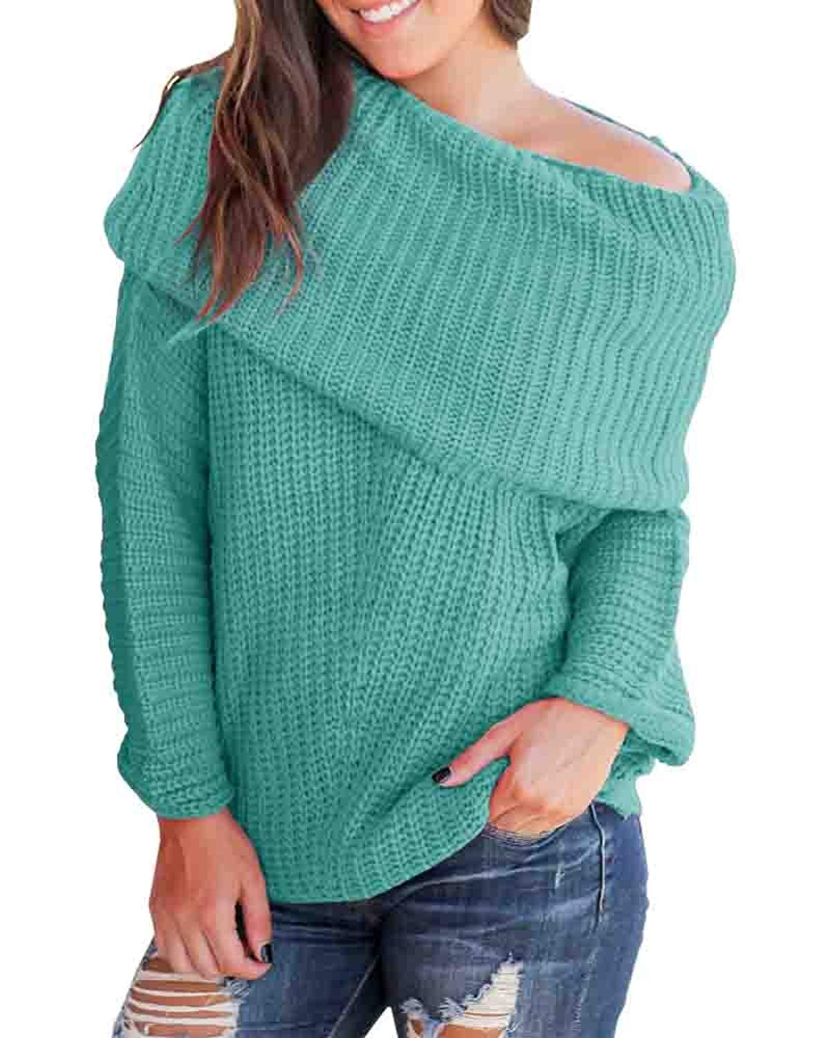d5387dbdd9b9a Get Quotations · YOMISOY Womens Off The Shoulder Sweater Knit Baggy Sexy  Long Sleeve Fall Split Pullover Sweater