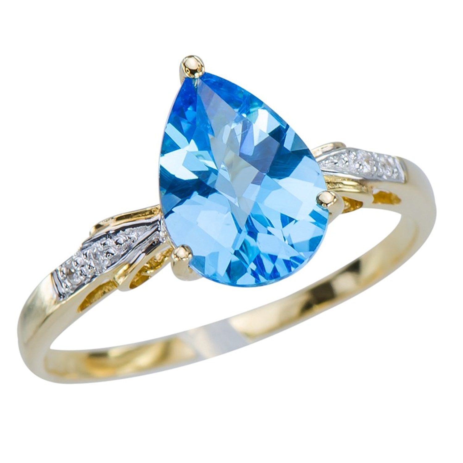Caratera Fine Gold Jewelry Vivid Womens Natural 2.3CT Swiss Blue Topaz 18K Yellow Gold Wedding Engagement Promise Diamond Ring