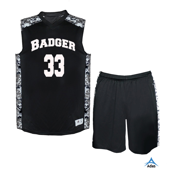 Custom black mesh basketball jersey and shorts, black basketball uniforms wholesale