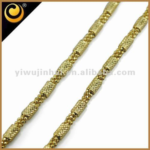 18KGP/Beads link, Made of Brass, 60cm chains