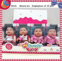 vinyl toy 5 inch babies doll 12pcs in a box
