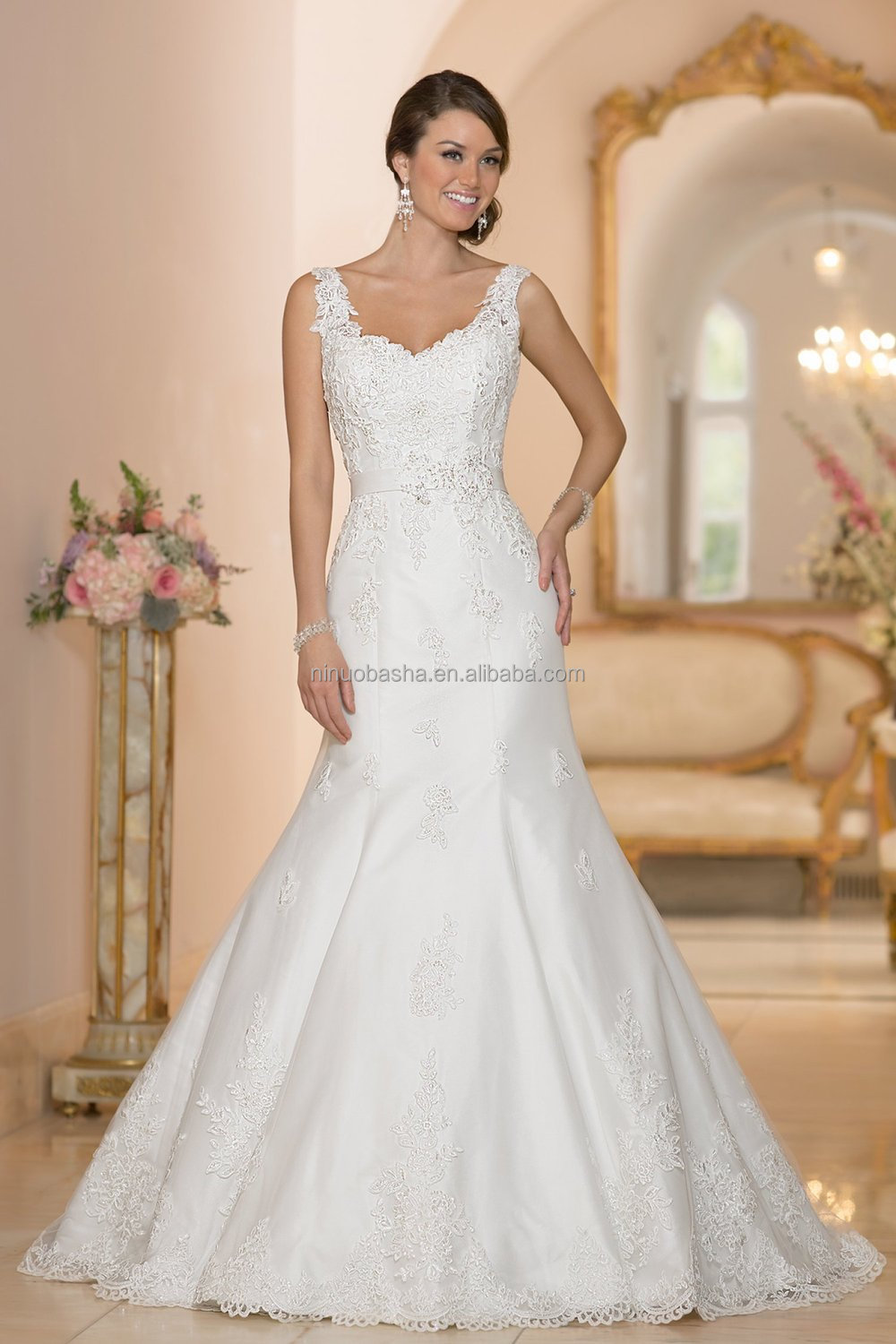 Vogue Mermaid Wedding Dress With Straps 2015 Sweetheart Full-length ...