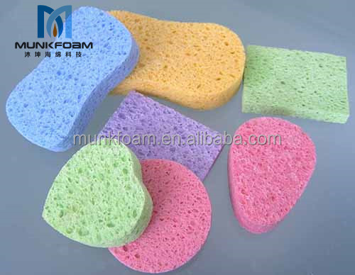 2017 hot sale natural cellulose sponge facial cleaning sponge bath cellulose cotton pulp sponge
