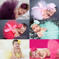 Baby Tutu Skirt 2017 Newborn Photography Props Pink Infant Photo Costume Lovely Design Photo Props Lace Dresses and Headband Set