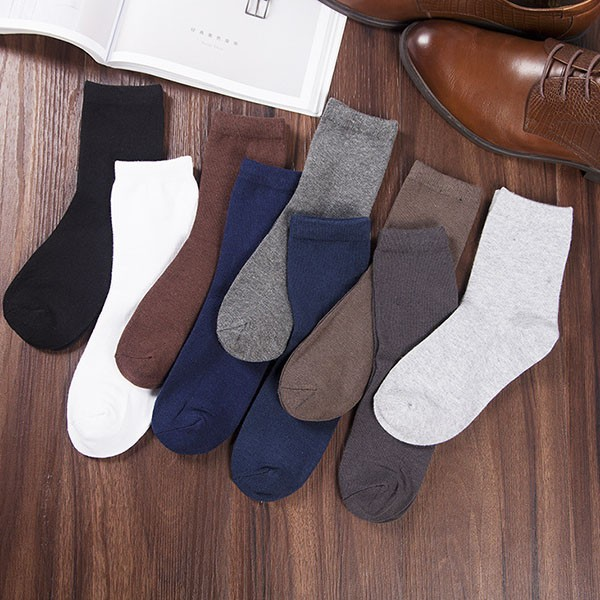 Hot Sale Adults Knitted Cozy Sport Sock Men Solid Color Sock Cotton