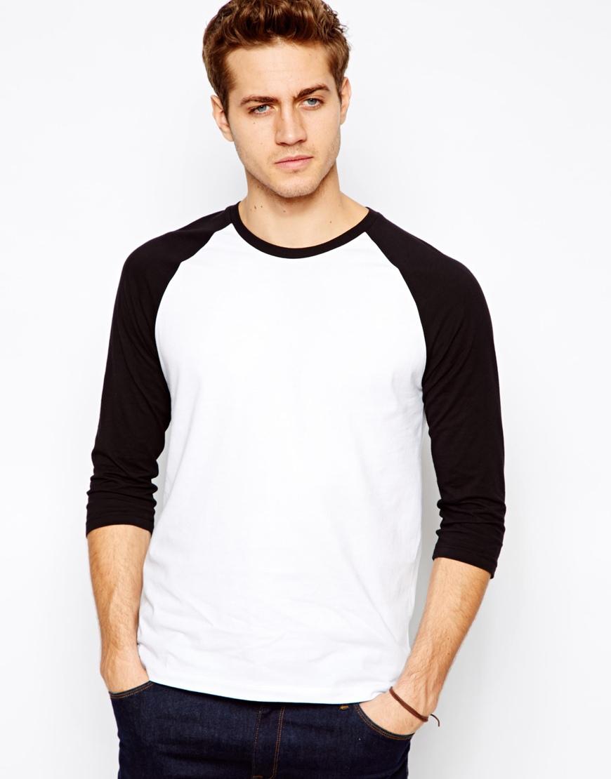 Black t shirt for man - Men 3 4 Black Sleeve Raglan T Shirt