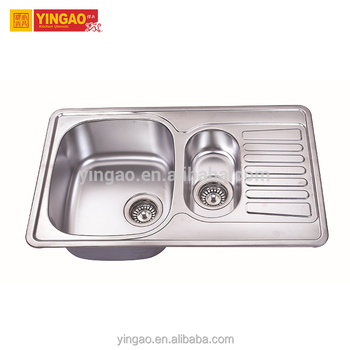 Single Bowl 304 single bowl brushed stainless steel kitchen sink with drain board