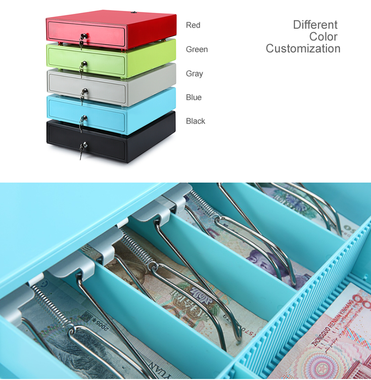 Red small smart 330 cheap metal Fashion Modern money box POS terminal cabinet cash register drawer