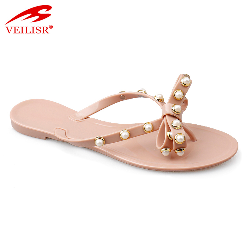 16d0c4333503d Beaded Design Ladies Pvc Footwear Jelly Shoes Women Flat Flip Flops ...