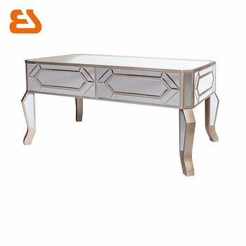 K D Mirrored Coffee Table With Champagne Gold Wooden Trim