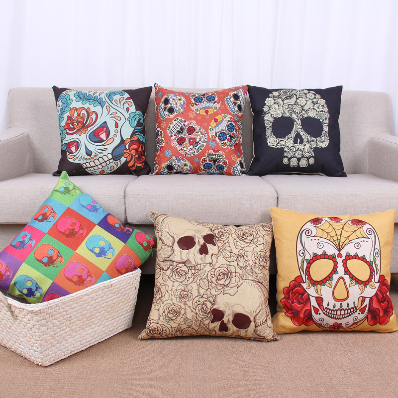 45cm Colorful Skull Easter Fashion Cotton Linen Fabric Pillow Hot Sale 18 Inch New Home Sitting Room Decor Coffee Sofa Pillow HL