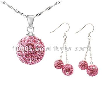 Pink Crystal Ball Jewelry Sets
