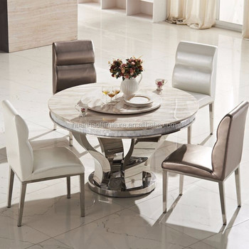 Dh 824 Hot Stainless Steel Round 8 Seater Marble Inlay Dining Table Top