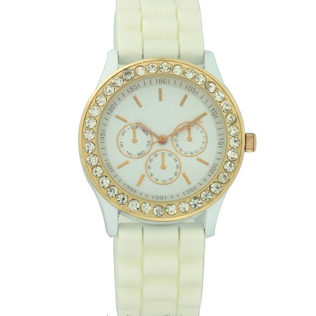 Ladies diamond case white silicon strap watch