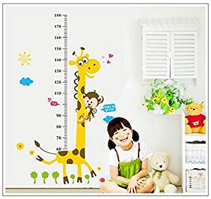 Kids Height Chart Wall Sticker home Decor Cartoon Giraffe Height Ruler Home Decoration room Decals Wall Art Sticker wallpaper