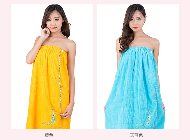 Best Sexy Fashion Ladies Women 100% cotton Terry Towel Bath dress embroidery flower bath dress