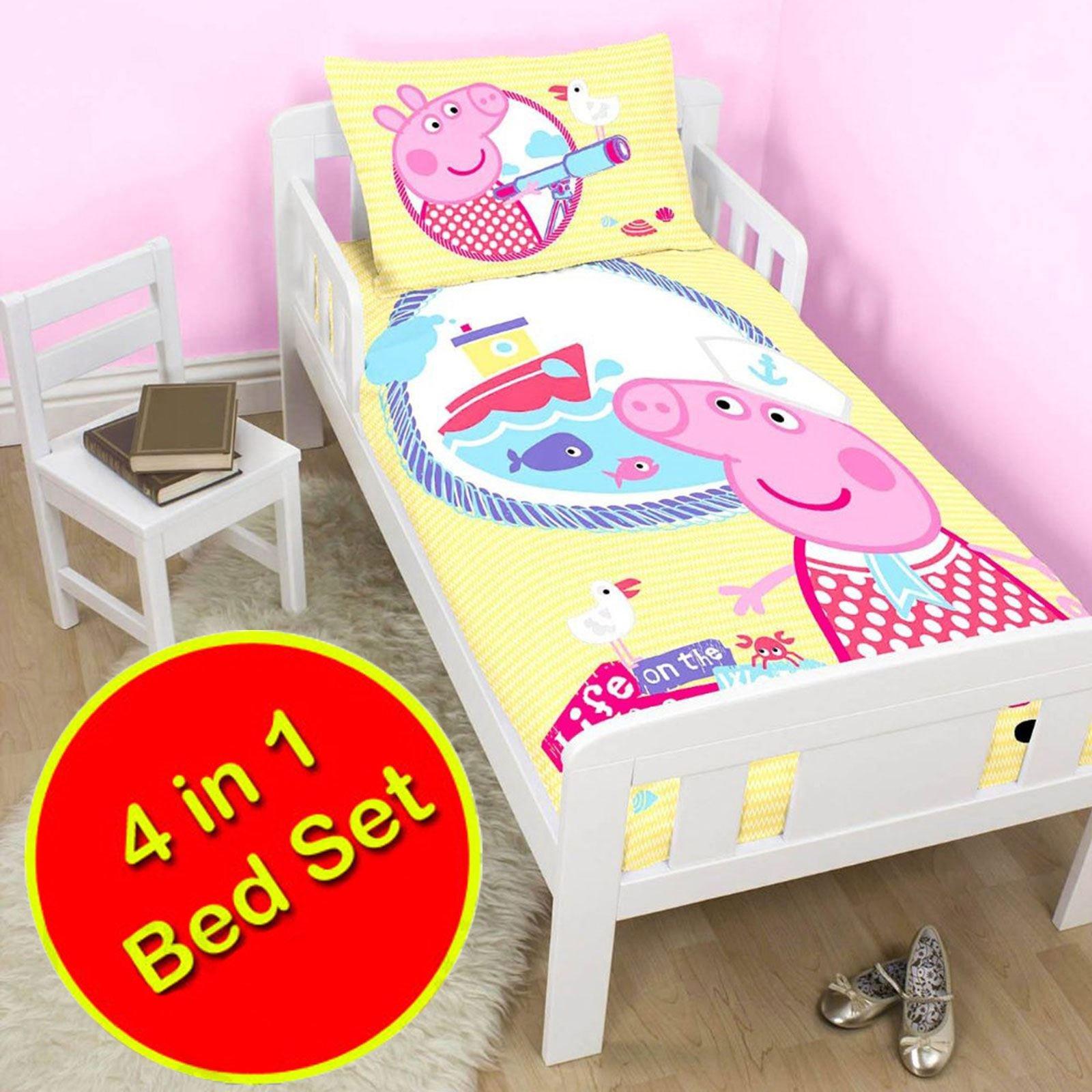 Get Quotations · Peppa Pig Nautical 4 In 1 Junior/Toddler Bedding Bundle Set  (Duvet + Pillow
