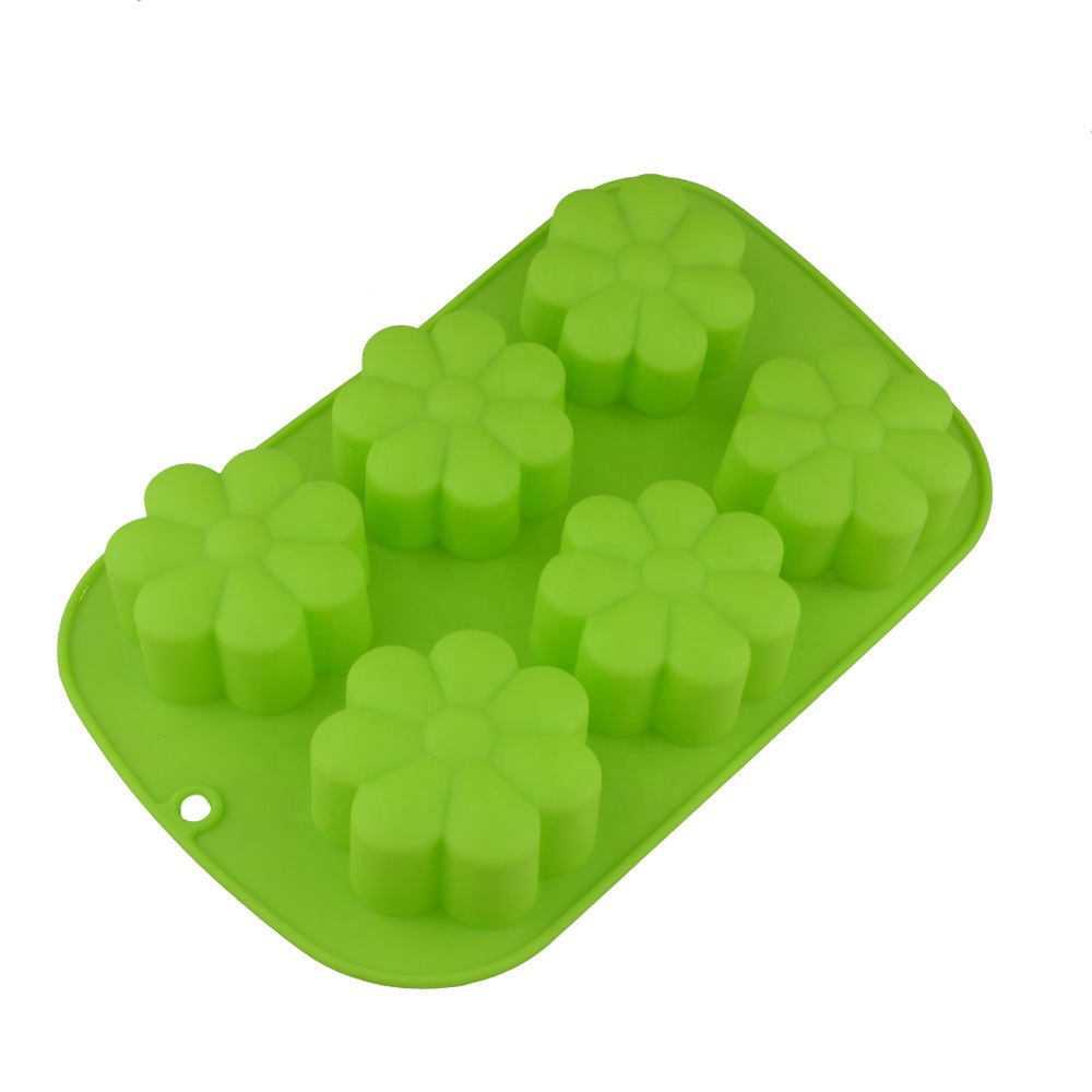 HIMI 6 flower Cake Pan Silicone Baking Mold soap bar mold