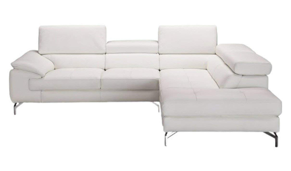 J&M Furniture Nila A973 Leather Right Facing Sectional Sofa in White