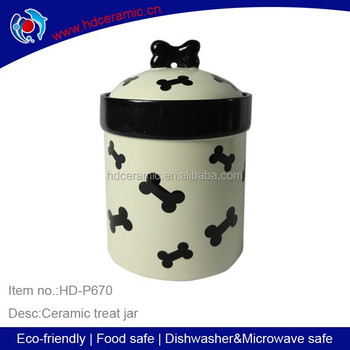 ceramic dog food container with bone decaldog feeder with bowknot design lidceramic - Dog Food Containers