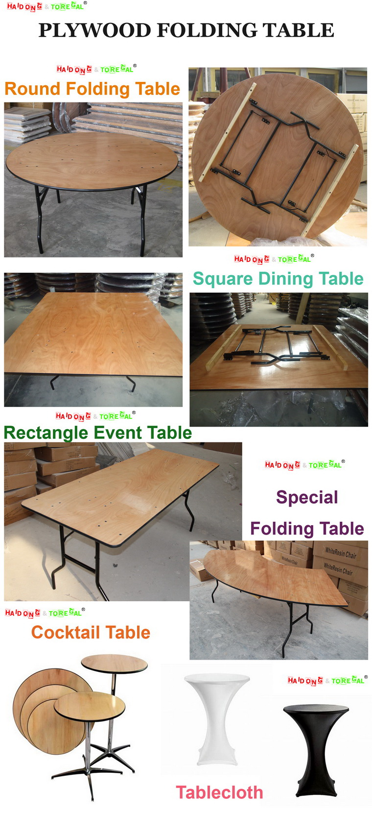 Outdoor Plywood Folding Banquet Camp Picnic Table for Sale