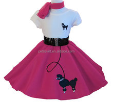 Wholesale children outfits 4 pieces set poodle skirt outfit for girls choose color