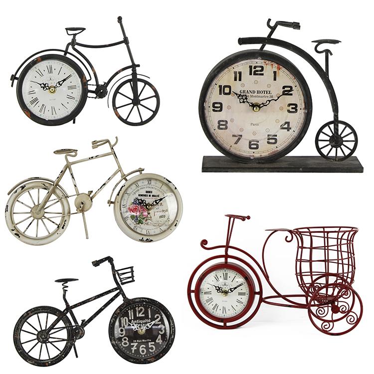 Hot Jual Kustom Desain Dekoratif Logam Dekoratif Sepeda Desktop Clock Sepeda Desain Vintage Antik Meja Jam Alarm