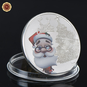 WR Santa Claus Quality 999 24k Silver Plated Coin Commemorative Metal Coin Christmas Day Gift Souvenir