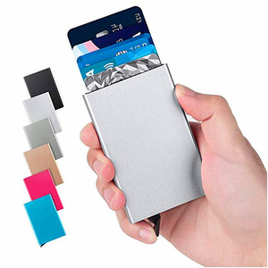 RFID Blocking Slim Metal Business Credit Card Holder Hard Case Aluminum Slim Wallet